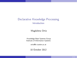 Declarative Knowledge Processing