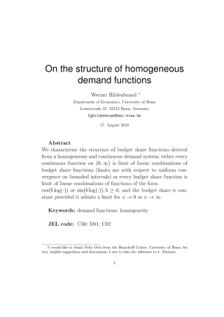 On the structure of homogeneous demand functions