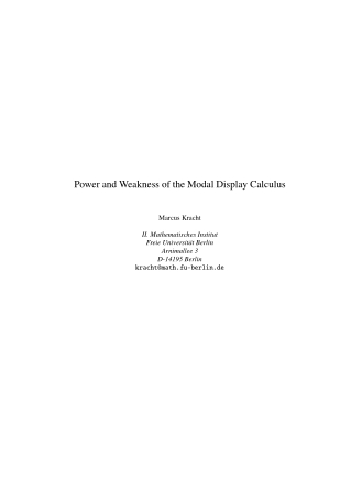 Power and Weakness of the Modal Display Calculus