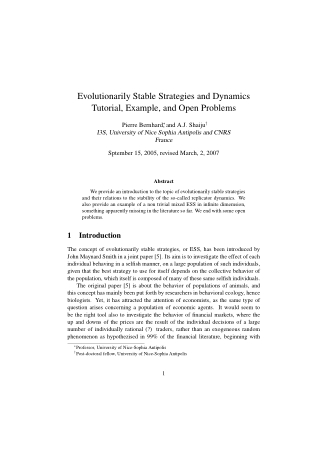 Evolutionarily Stable Strategies and Dynamics Tutorial, Example, and Open Problems