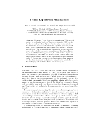 Fitness Expectation Maximization