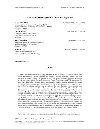 Multi-class Heterogeneous Domain Adaptation