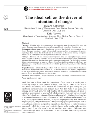 The ideal self as the driver of intentional change
