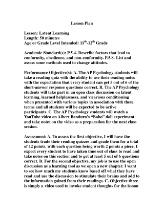 Lesson Plan Lesson: Latent Learning Length: 50 minutes Age or Grade Level Intended: 11