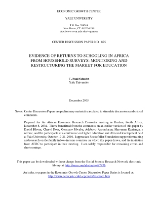 EVIDENCE OF RETURNS TO SCHOOLING IN AFRICA FROM HOUSEHOLD SURVEYS: MONITORING AND RESTRUCTURING THE MARKET FOR EDUCATION