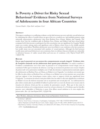 Is Poverty a Driver for Risky Sexual Behaviour? Evidence from National Surveys of Adolescents in four African Countries