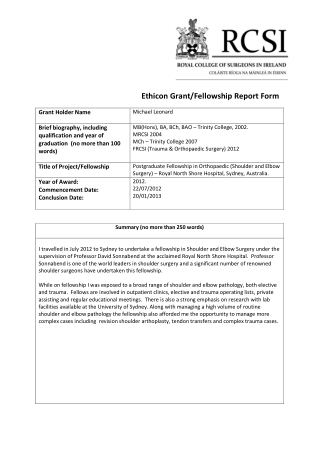 Ethicon Grant/Fellowship Report Form