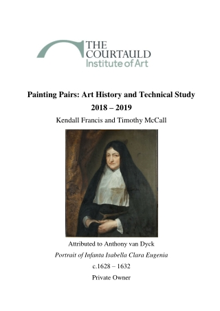 Painting Pairs: Art History and Technical Study 2018