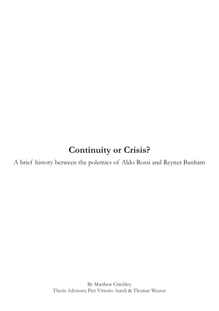 Continuity or Crisis?