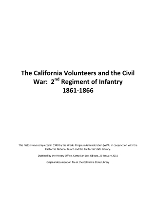 The California Volunteers and the Civil War: 2