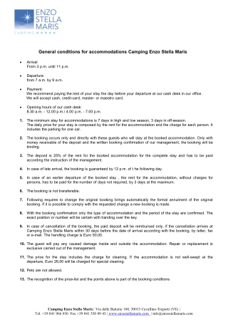 General conditions for accommodations Camping Enzo Stella Maris