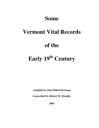 Some Vermont Vital Records of the Early 19