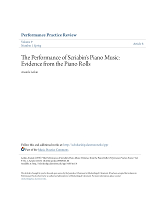 The Performance of Scriabin's Piano Music: Evidence from the Piano Rolls