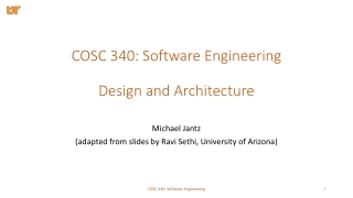 COSC 340: Software Engineering Design and Architecture
