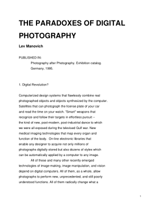 THE PARADOXES OF DIGITAL PHOTOGRAPHY