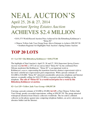 NEAL AUCTION'S
