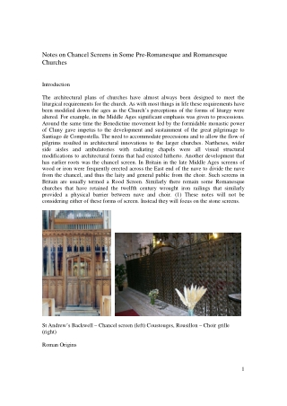 Notes on Chancel Screens in Some Pre-Romanesque and Romanesque Churches