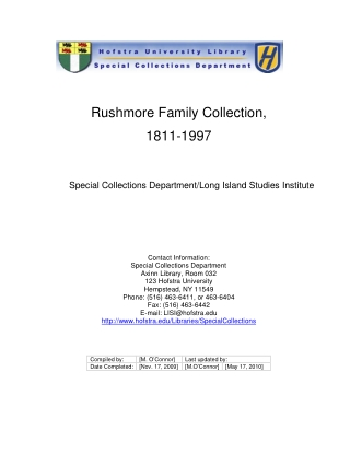 Rushmore Family Collection, 1811-1997