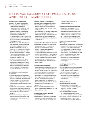 national gallery staff publications april 2013