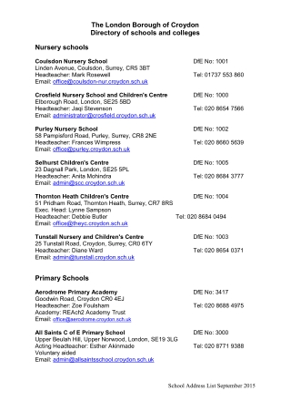 The London Borough of Croydon Directory of schools and colleges Nursery schools