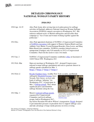 DETAILED CHRONOLOGY NATIONAL WOMAN'S PARTY HISTORY