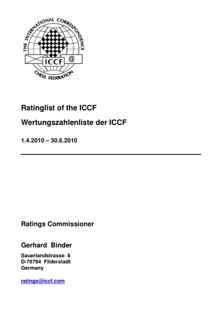 Ratinglist of the ICCF Wertungszahlenliste der ICCF