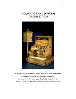 ACQUISITION AND DISPOSAL ACQUISITION AND DISPOSAL OF COLLECTIONS OF COLLECTIONS