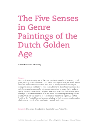 The Five Senses in Genre Paintings of the Dutch Golden Age