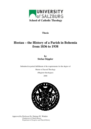 Hostau – the History of a Parish in Bohemia from 1836 to 1938