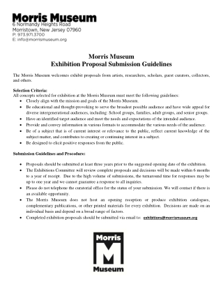 Morris Museum Exhibition Proposal Submission Guidelines