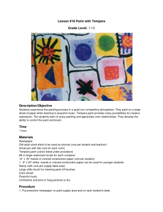 Lesson #18 Paint with Tempera Grade Level:
