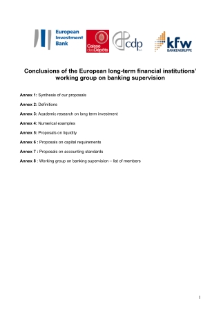 Conclusions of the European long-term financial institutions' working group on banking supervision