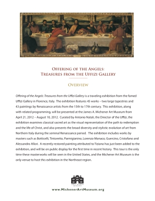 Offering of the Angels: Treasures from the Uffizi Gallery Overview