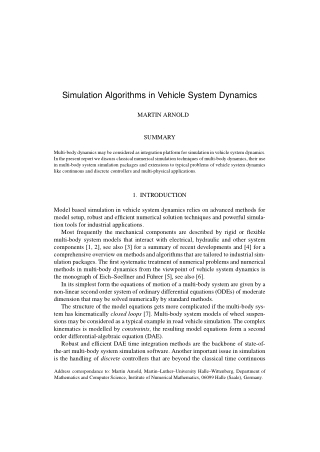 Simulation Algorithms in Vehicle System Dynamics