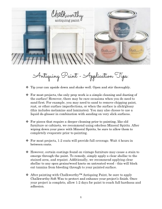 Antiquing Paint - Application Tips: