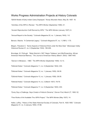 Works Progress Administration Projects at History Colorado