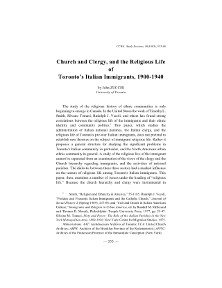 Church and Clergy, and the Religious Life of Toronto's Italian Immigrants, 1900-1940