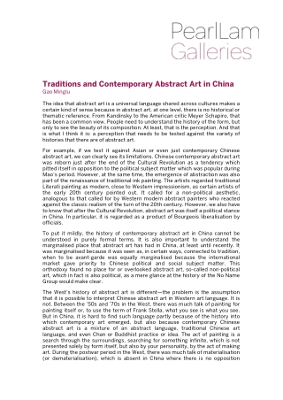 Traditions and Contemporary Abstract Art in China
