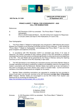 IHO File No. S1/1206 CIRCULAR LETTER 43/2019 23 September 2019 PRINCE ALBERT 1
