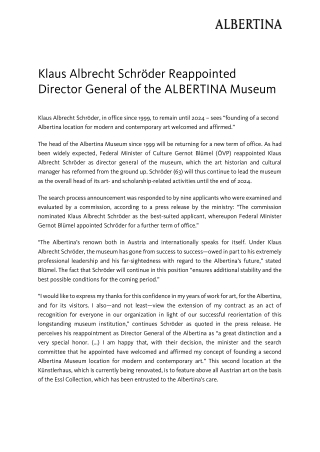 Klaus Albrecht Schröder Reappointed Director General of the ALBERTINA Museum