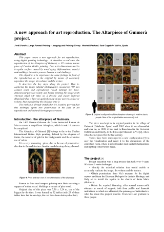 A new approach for art reproduction. The Altarpiece of Guimerà project.