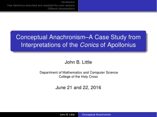 Conceptual Anachronism–A Case Study from Interpretations of the