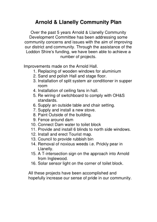Arnold & Llanelly Community Plan