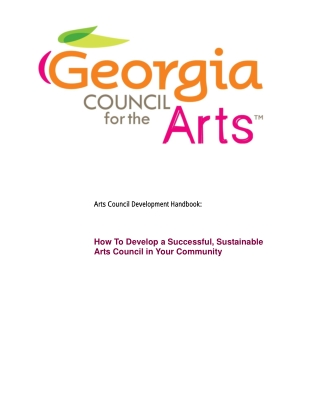 How To Develop a Successful, Sustainable Arts Council in Your Community