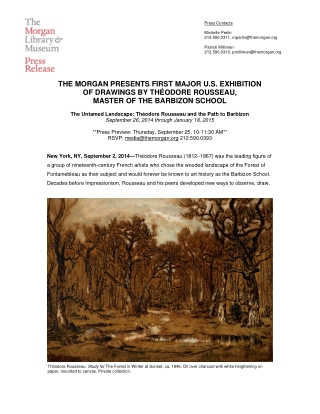 THE MORGAN PRESENTS FIRST MAJOR U.S. EXHIBITION OF DRAWINGS BY THÉODORE ROUSSEAU, MASTER OF THE BARBIZON SCHOOL