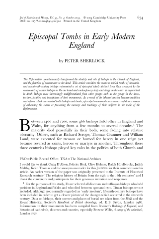 Episcopal Tombs in Early ModernEngland
