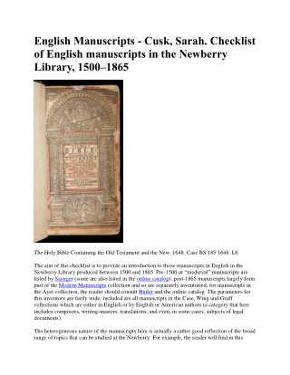 English Manuscripts