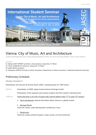 Vienna: City of Music, Art and Architecture