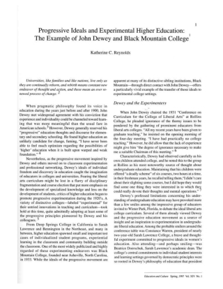 Progressive Ideals and Experimental Higher Education: The Example of John Dewey and Black Mountain College