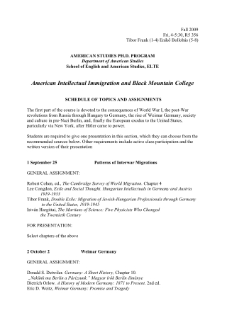 American Intellectual Immigration and Black Mountain College